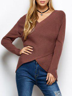Wrap Ribbed Sweater - Red