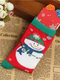 Pair Of Knitted Snowmen Jacquard Socks - Red