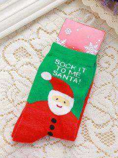 Pair Of Letter Jacquard Christmas Knitted Socks - Red