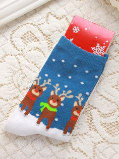 Pair Of Christmas Deer Jacquard Knitted Socks - Blue