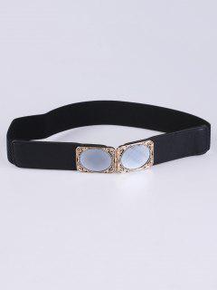 Faux Opal Elastic Waist Belt - Black