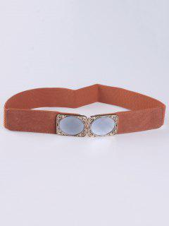 Faux Opal Elastic Waist Belt - Light Brown