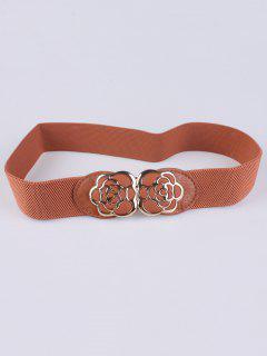 Rose Carve Elastic Waist Belt - Light Brown
