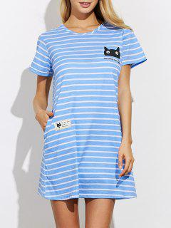 Robe De Pyjama Casual Et Rayée  - Bleu S