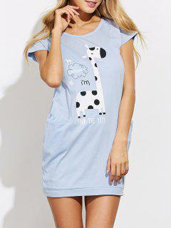 Robe De Pyjama Casual Avec Cartoon Imprimé - Bleu Léger  S