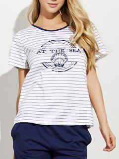 Printed Striped T-Shirt And Casual Shorts - Gray M