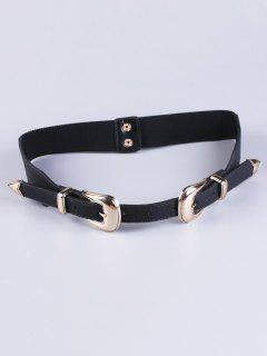Double Buckle Elastic Waist Belt - Black