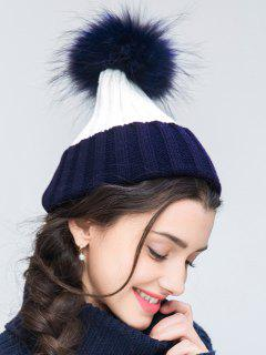 Knit Ribbed Pom Hat - Cadetblue