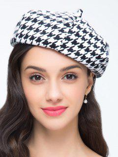 Houndstooth Painter Beret - White And Black