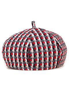 Crochet Plaid Painter Beret - Red