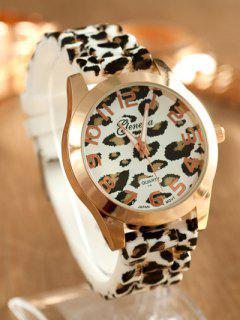 Leopard Silicone Band Quartz Watch - White