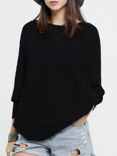Batwing Sleeve Oversized Weater - Black