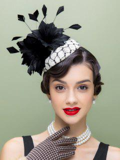 Flower Feather Pillbox Hat - Black