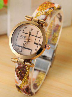 Reloj Cuarzo Círculo Brillantes Analógico - Dorado