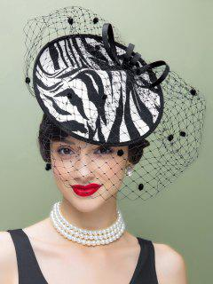 Veil Zebra Striped Fascinator Cocktail Hat - White And Black