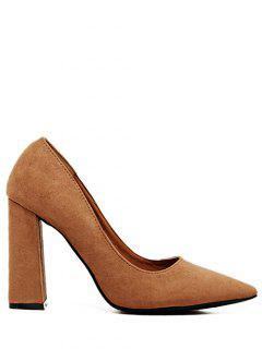 Suede Pointed Toe Chunky Heel Pumps - Brown 38