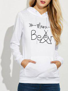 Casual String Hoodie With Letter Print - White S