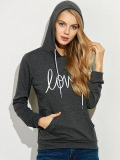 Casual String Printed Hoodie - Deep Gray S