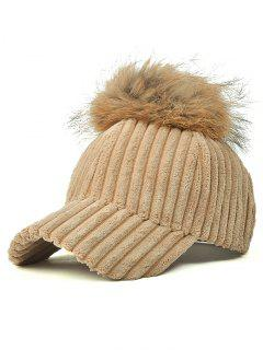 Pom Ball Corduroy Baseball Hat - Light Khaki