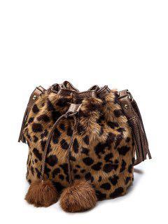 Pompon Leopard Furry Bucket Bag - Brown