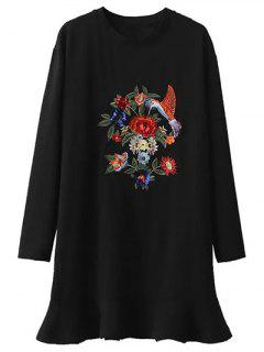 Sequins Floral Embroidered Dress - Black L
