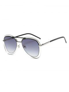 Double Rims Metal Pilot Sunglasses - Black
