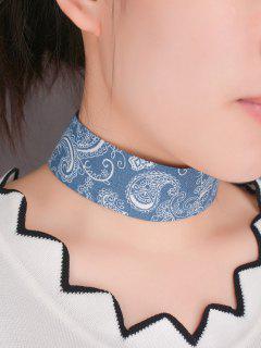 Graphic Print Denim Choker Necklace - Blue