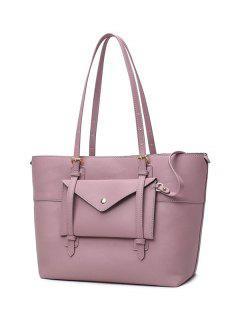 Buckle Strap PU Leather Handbag Set - Pink