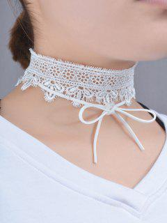 Lace Bows Flower Choker Necklace - White