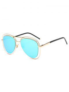 Double Rims Mirrored Pilot Sunglasses - Ice Blue