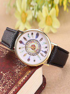 Faux Leather Feather Pattern Quartz Watch - Black