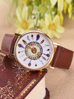 Faux Leather Feather Pattern Quartz Watch - Brown
