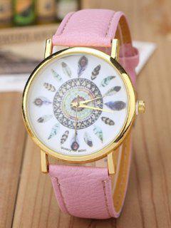 Faux Leather Feather Pattern Quartz Watch - Pink