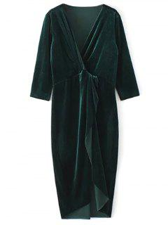 Twist Front V Neck Velvet Dress - Dark Green M