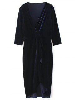 Twist Front V Neck Velvet Dress - Purplish Blue L