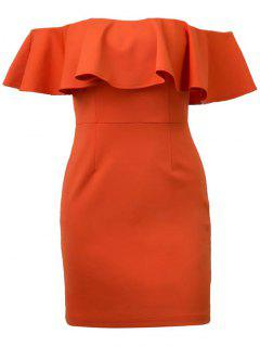 Flounced Off Shoulder Bodycon Dress - Jacinth S