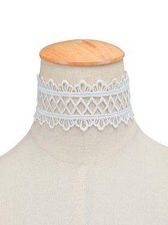 Collier Géométrique Et Vintage En Dentelle Forme Couronne - Blanc