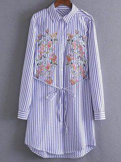Embroidered Striped Shirt Tunic Dress - Stripe S
