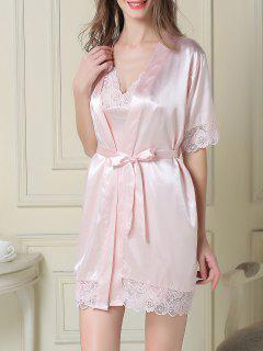 Ensemble Pyjama En Satin Robe Nuisette à Bretelles Et Peignoir - Rose Léger  M