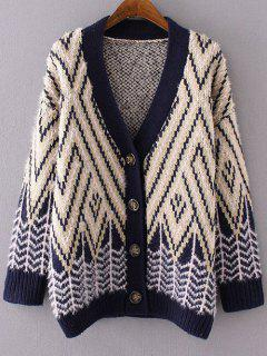 Chevron Stripe Fluffy Cardigan - Yellow