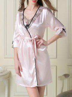 El Vestido Del Resbalón De Satén Y Sueño Bata - Rosa Claro M
