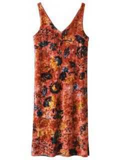 Printed Side Slit Velvet Tank Dress - Jacinth M