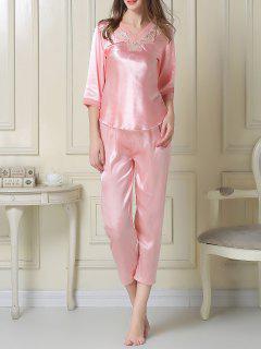 Satin Tee And Capri Pants Pajama - Pink M