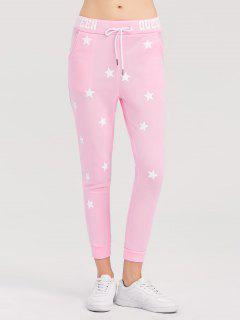 Skinny Star Print Sports Pants - Pink S