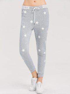 Skinny Star Print Sports Pants - Gray S