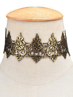 Hollow Floral Wide Choker - Black Gold