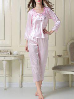 Embroidered Satin Tee And Capri Pants Pajama - Light Pink M