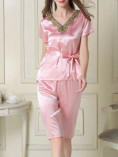 Embroidered Neckline Satin Tee And Shorts Pajama - Pink M