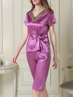 Embroidered Neckline Satin Tee And Shorts Pajama - Purple M