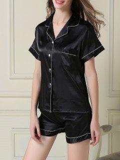 Short Sleeve Satin Boxer Pajama - Black 2xl